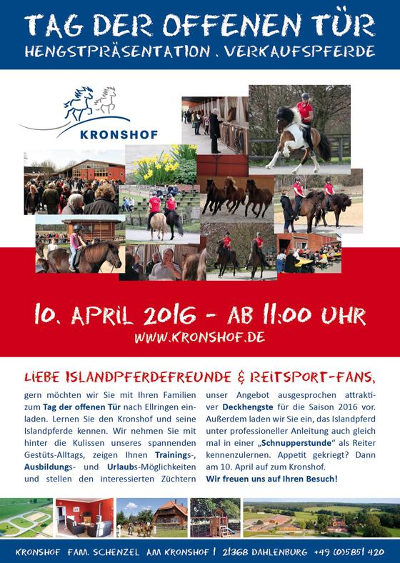Tag der offenen Tür mit Hengstpräsentation am 10. April