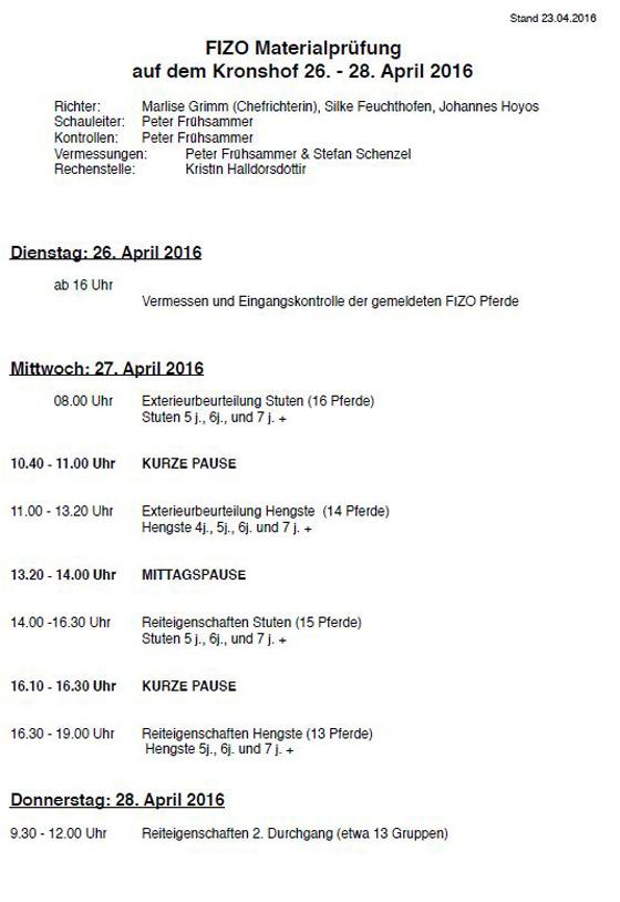 Kronshof-FIZO am 27. & 28. April
