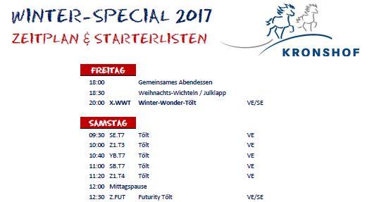 Zeitplan & Starterlisten Winter-Special