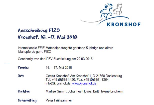 FIZO Kronshof – Nennschluss am Donnerstag