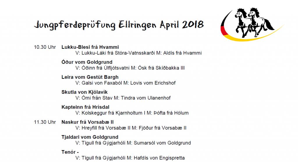Zeitplan Jungpferdeprüfung 24. April