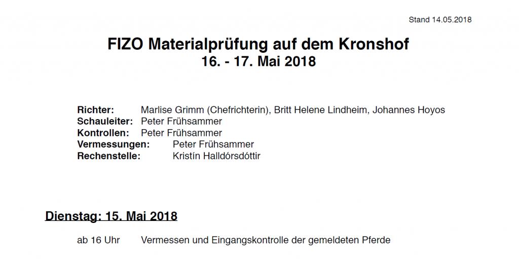 Zeitplan & Starterlisten FIZO Kronshof