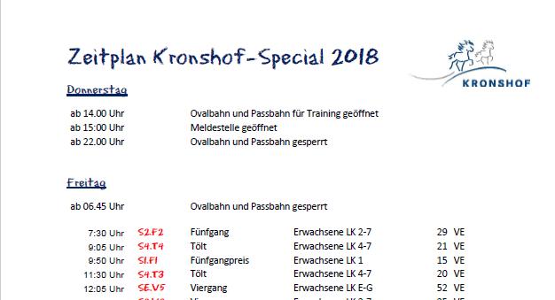 Zeitplan & Starterlisten Kronshof Special 2018