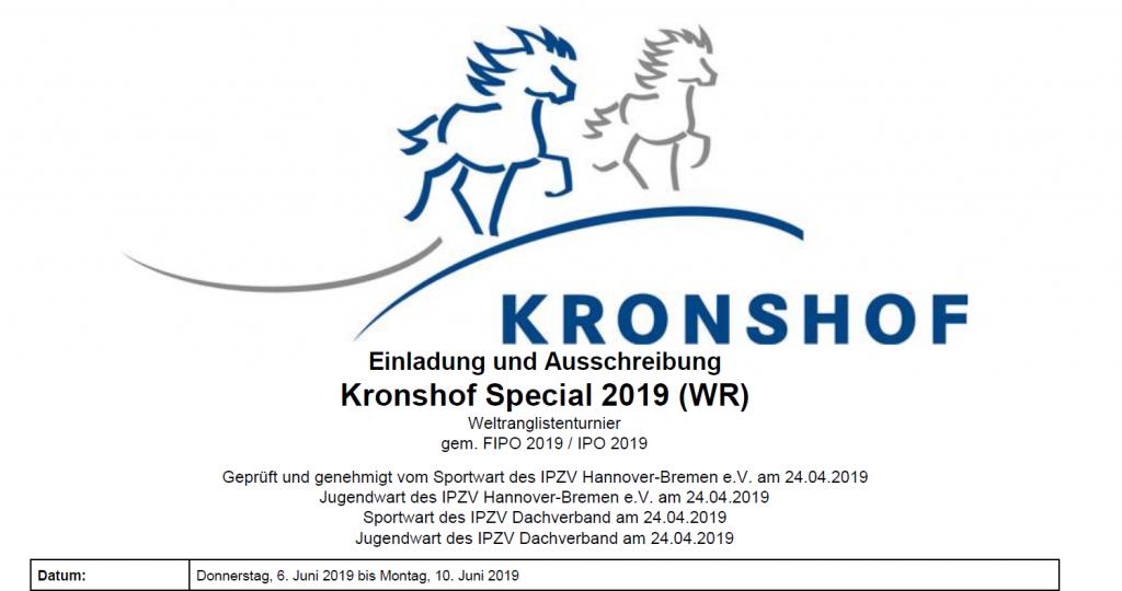 Ausschreibung Kronshof Special online!
