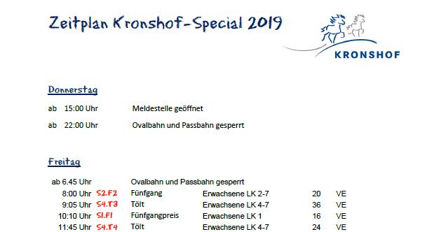 Zeitplan Kronshof Special 2019