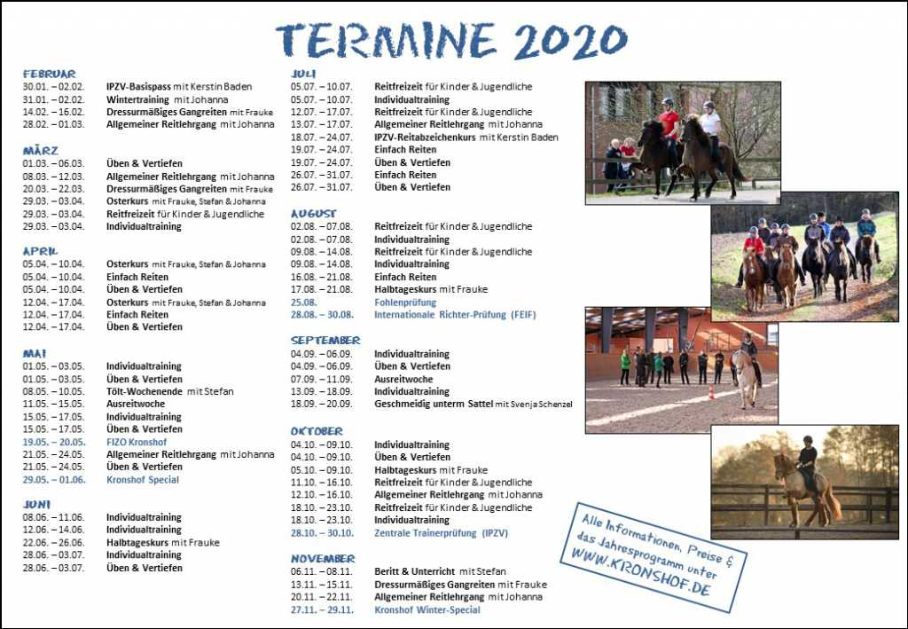 Save the Dates – Unsere Termine 2020!