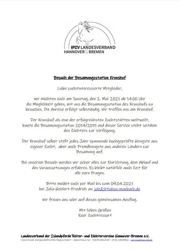 Besuch IPZV Landesverband Hannover-Bremen e.V.